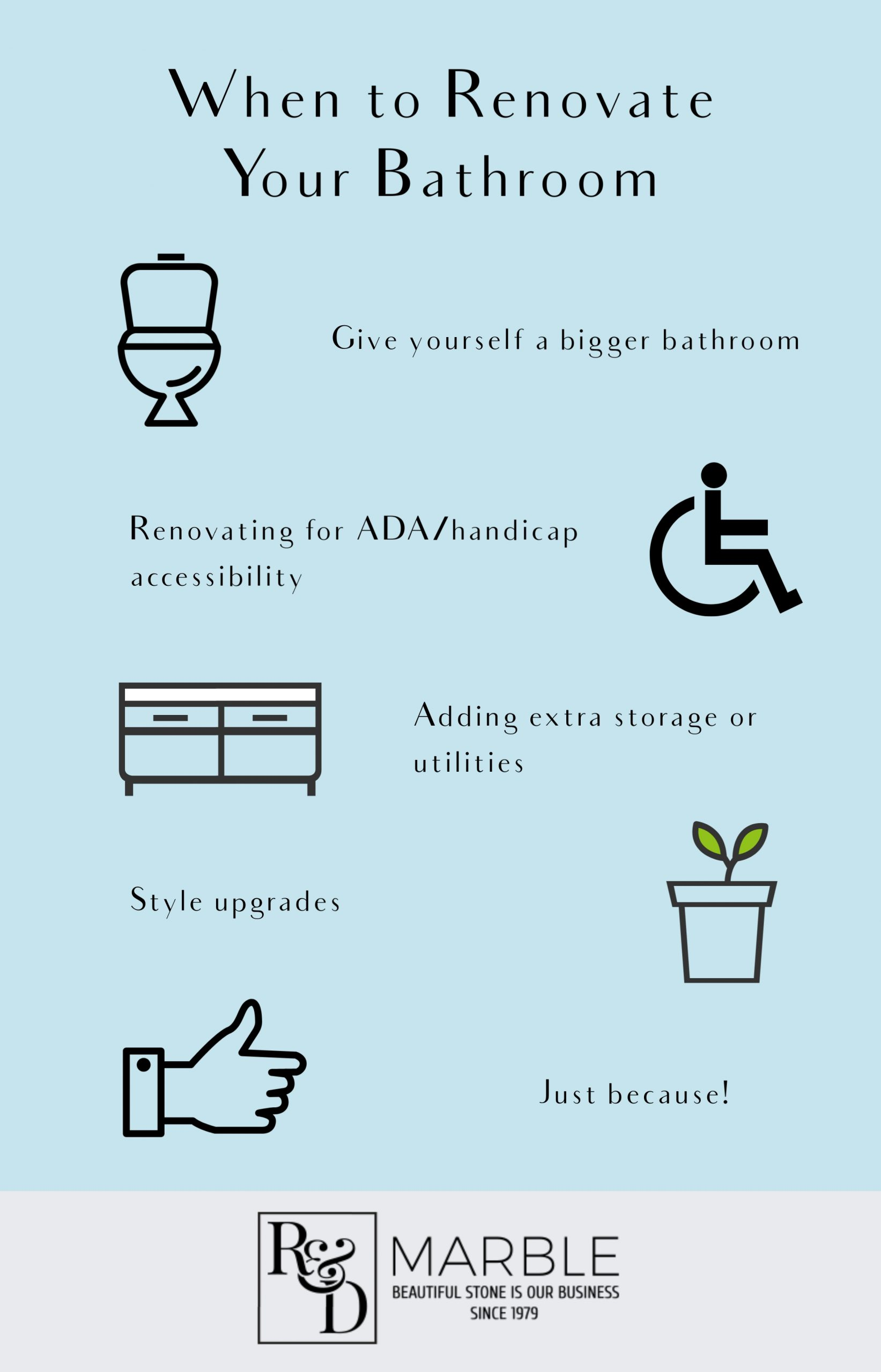 5 reasons to renovate your bathroom r&d marble, inc,. montgomery, tx